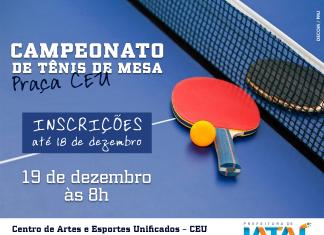 6ec741ecd Inscrições para Campeonato de Tênis de Mesa se encerram nesta segunda-feira