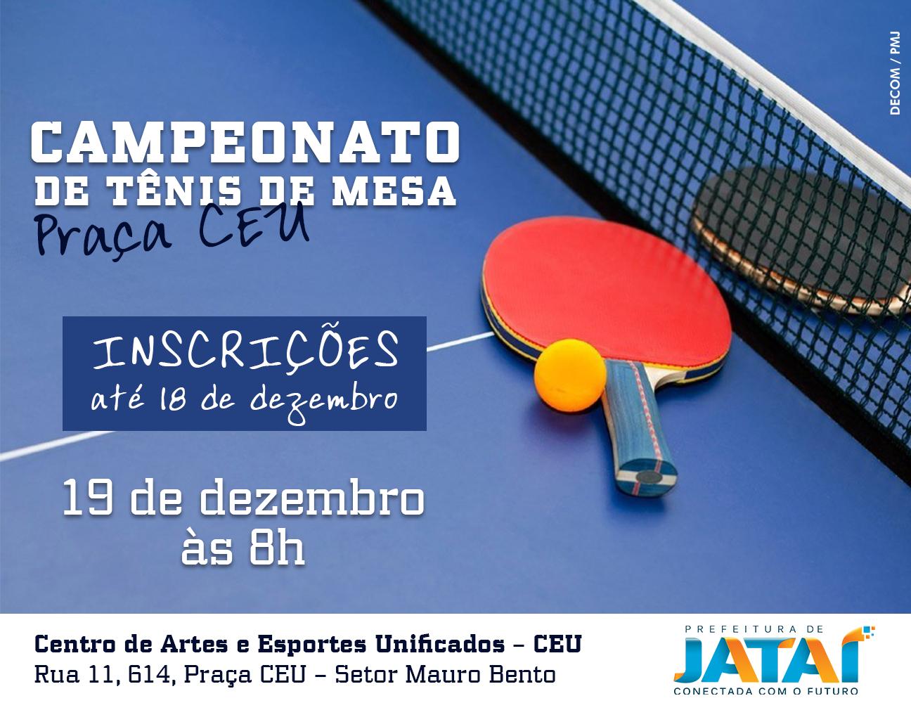 c1f7443e4 Inscrições para Campeonato de Tênis de Mesa se encerram nesta ...